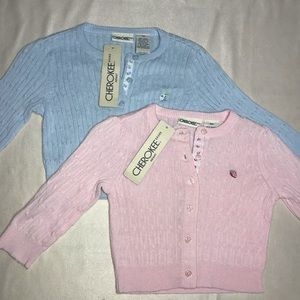 Sweater Baby Kids Infant Cherokee Pink Blue Button